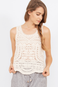 Wait for Me Tribal print lace top from Think Elysian Boutique // shop.thinkelysian.com