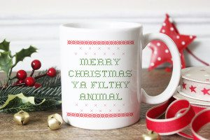 Merry Christmas Ya Filthy Animal Tacky Sweater Coffee Mug // shop.thinkelysian.com