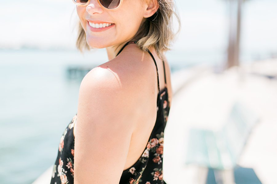 What I wore in St. Pete Beach // Floral Crop Top & High Waisted shorts on thinkelysian.com