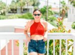 What I wore in St. Pete Beach, Florida: Red Crochet Crop Top & High Waisted Shorts!! Perfect summer style on thinkelysian.com