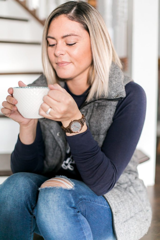 This Jord wood watch is a cozy detail for this winter outfit with a puffy vest & TOMS boots! // thinkelysian.com