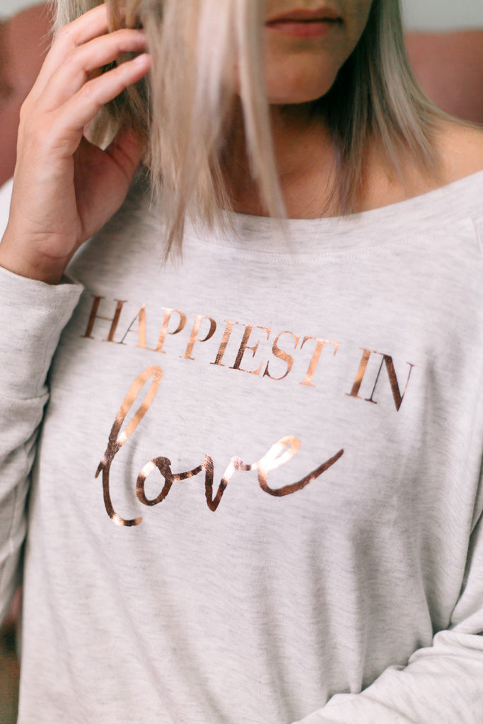 My comfy Valentine's Day Look with Happiest Tee & Flora Springs Triology Wine on thinkelysian.com